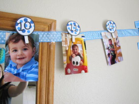 DIY 1st birthday banner. I used clothes pins and ribbon and ...