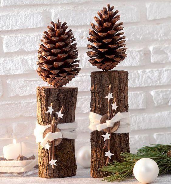 Creare decorazioni natalizie con rami e tronchi