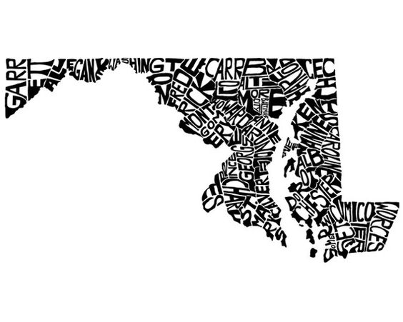 I love this! I'm doing a project on Maryland stuff right now and I wish I could recreate this. I love pieces that have font creating a shape.