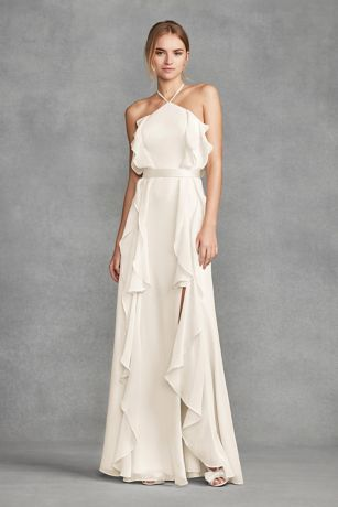 This high-neck chiffon bridesmaid dress from White by Vera Wang is adorned with cascading ruffles and accented by a skinny tie at the low-scooped back. A satin sash finishes the look. White by Vera Wang, exclusively at David's Bridal Polyester Back zipper; fully lined Dry clean Imported
