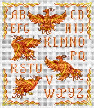 Cross-stitch Phoenix Sampler... no color chart available, just use pattern chart as your color guide.. or choose your own colors...    Gallery.ru / Фото #74 - Животные и птицы - elena-555