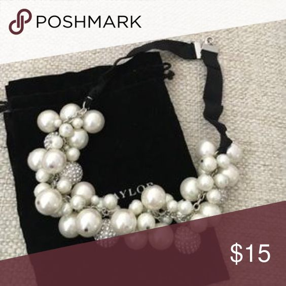 Ann Taylor Pearl and Crystal Necklace 🌟Ann Taylor pearl and crystal bauble necklace.                                                            🌟Very pretty for wedding or formal event!            🌟Hits at collarbone.                                                      🌟Excellent condition.                                                 🌟20% OFF BUNDLES!                                                     🌟Ann Taylor dust bag not included; I will include a different dust bag for you…