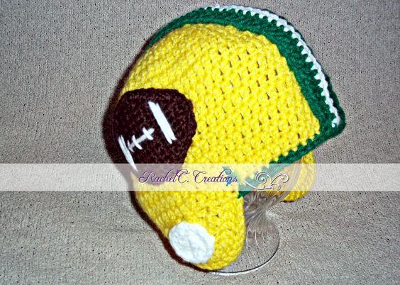 Crochet Football Helmet- GB Packers by RachelC. Creations- https://www.facebook.com/RachelC.Creations