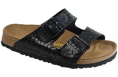Papillio Arizona Sandal Flower Glitter Black Leather As