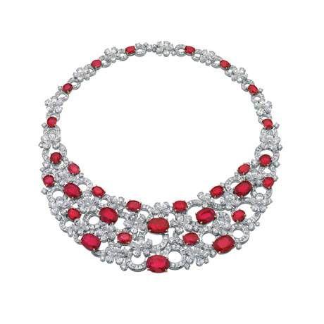 Bulgari white gold, ruby and diamond necklace