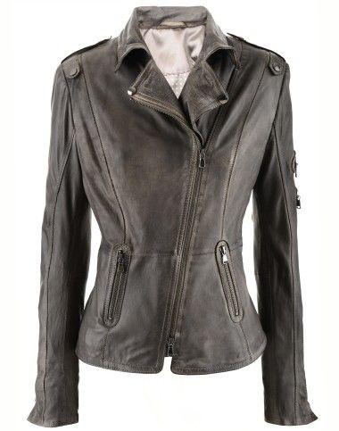 Vintage Grey Leather Jacket New Biker