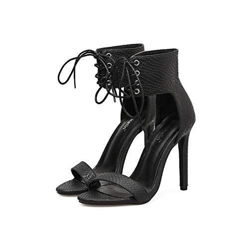 VISONREAST Sandale Aiguille Escarpin Cuir Chaussure /à Talon Haut Sandale Bride Cheville Lacet EU35-EU40