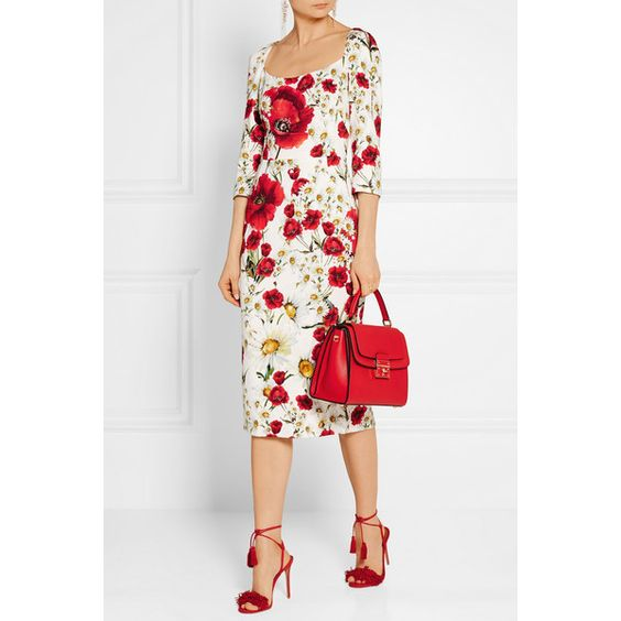 Dolce & Gabbana Floral-print crepe dress ($3,095) ❤ liked on Polyvore featuring dresses, floral print dress, floral print midi dress, poppy dress, white dress and crepe dress