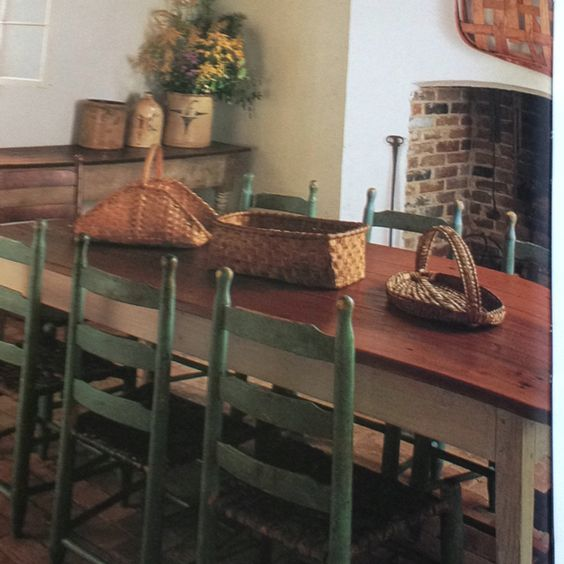 Love the table and green chairs life on the farm for Primitive dining room furniture