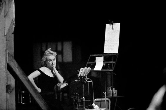 Marilyn recording songs for Let's Make Love, 1960. Photo by Bruce Davidson.