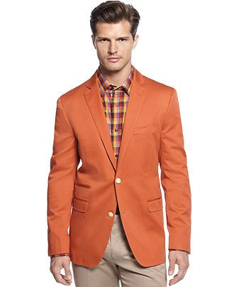 Tallia Orange Jacket Elbow Patch Sportcoat - Blazers &amp Sport