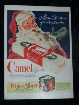1950s Christmas cigarette ad with Santa Claus