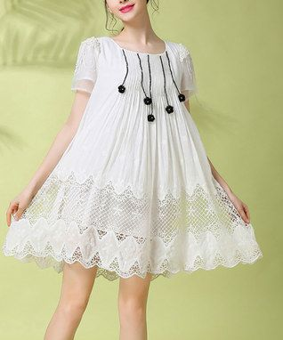 White Lace Silk-Blend Shift Dress - Plus Too