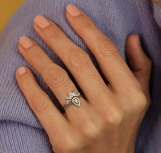 White Sapphire Ring Marquise Crown Ring Sapphire Wedding   Etsy