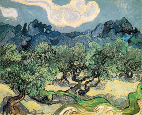 Olive Trees with the Alpilles in the Background, 1889.
