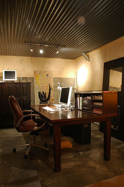 unfinished basement turned office i wonder how easy that ceiling would be also to paint. Black Bedroom Furniture Sets. Home Design Ideas