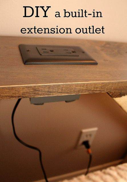 DIY extension outlet by turtles&tails, I've received a couple of emails asking how we converted a wall outlet into an extension outlet for our TV room sofa table. This outlet, built into the face of the table, allows us to utilize the electrical outlet that is behind the couch - without having to move the couch out of the way. I managed to corral Tom long enough to have him show me what he did.