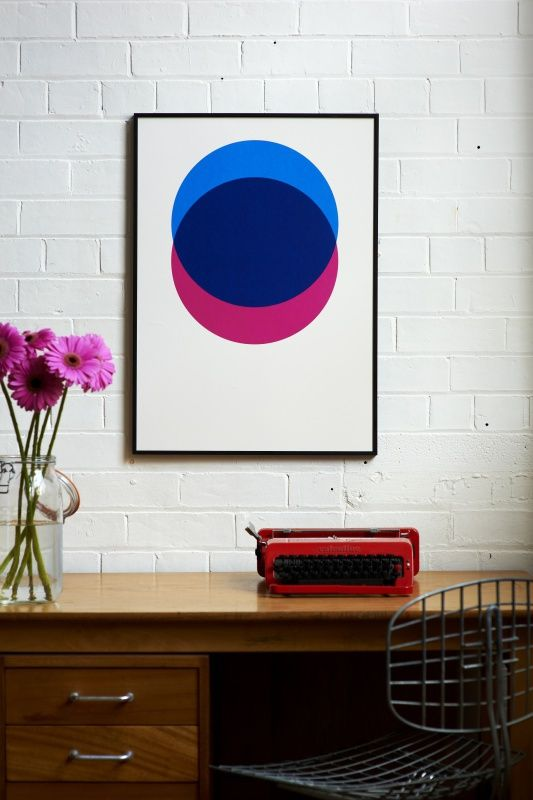 Circles – Blue and Pink - hand-pulled screen print by Lane