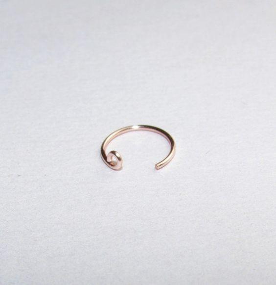 14 K oro rosa naso pieno anello, naso Hoop, Custom misura 6mm 8mm 10mm, naso sottile anello, orecchino Hoop cartilagine