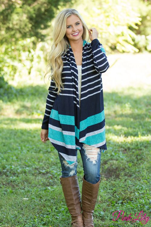 This dreamy cardigan is so perfect for layering over your favorite tees this fall! The navy, teal, heather grey, and white colorblock stripes are sure to stand out from the crowd on a misty fall day, while the knit fabric is lightweight and easy to wear in all sorts of weather!