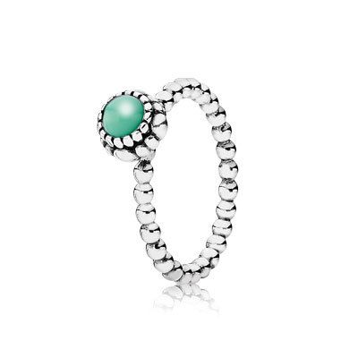 PANDORA | Silver ring, birthstone-May, chrysoprase
