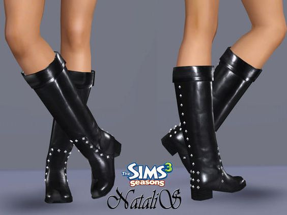 Studded Leather Boots by NataliS  http://www.thesimsresource.com/downloads/1178173