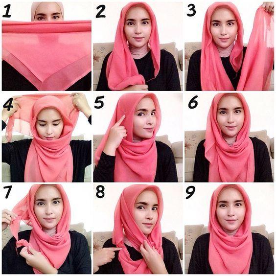 51 Tutorial Model Hijab Paris Segi Empat Simple Modis 2020 Dengan