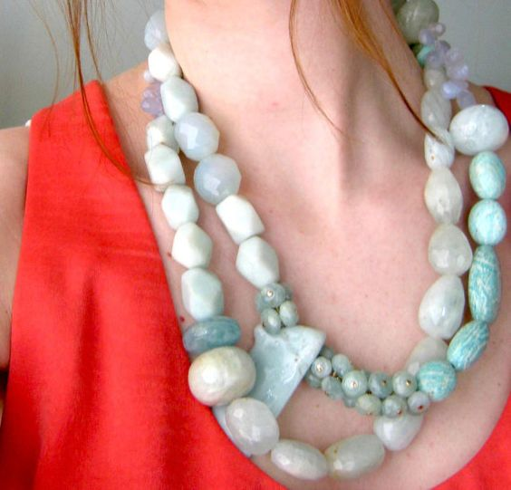 """""""One by Day, Two by Night"""". Aquamarine Layered Necklace Set:"""