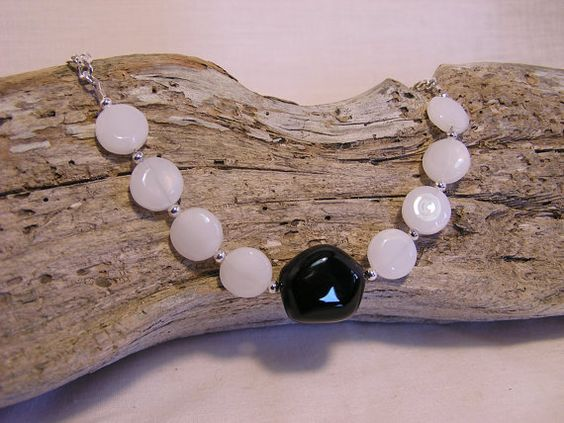 Black Onyx and White Quartz Glass Beaded by CathysCraftyDesigns, $17.00