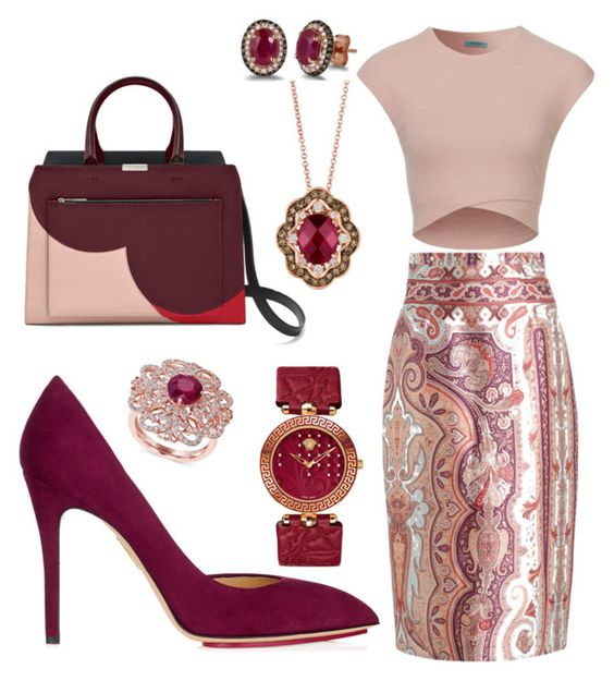 """rubies and wine"" by elvira-8390 ❤ liked on Polyvore featuring Zimmermann, Charlotte Olympia, Effy Jewelry and Versace"