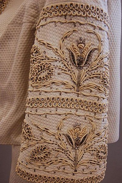 Balmain couture 1956 white cotton piqué sheath dress with matching jacket, strapless bodice with raised white and silver embroidery, studded with rhinestones.