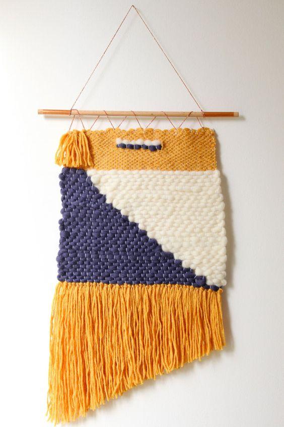 Tissage mural en laine
