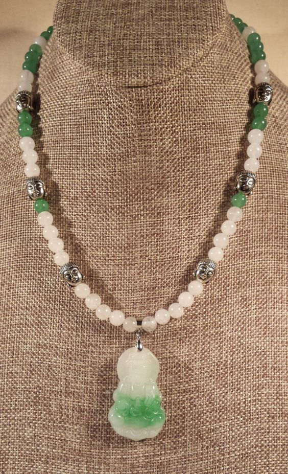Green and White Jade Buddha Jade Bead Necklace by SpringHammock