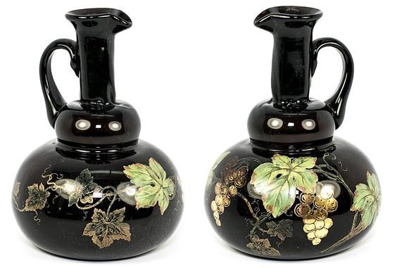 Antique Mouth-Blown Thick Glass Wine Carafe, Carafon, Hand Painted Enamel Grapes and Leaves, French
