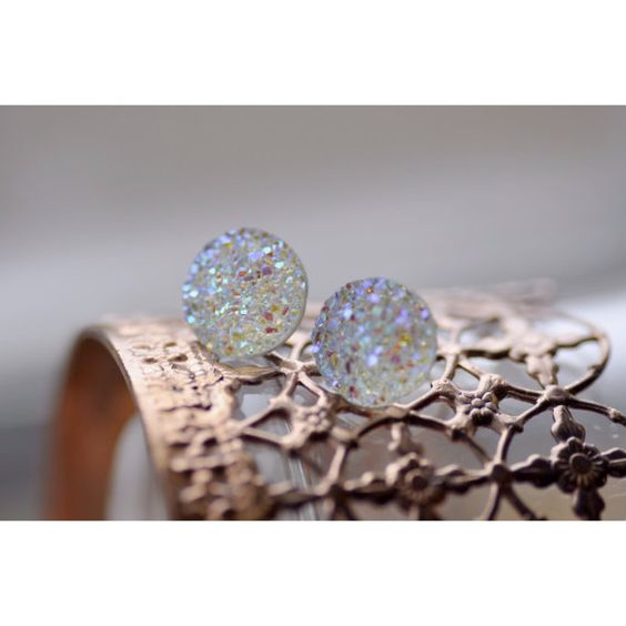 Snow Globe Druzy Stud Earrings! Only $20 CAD!!!