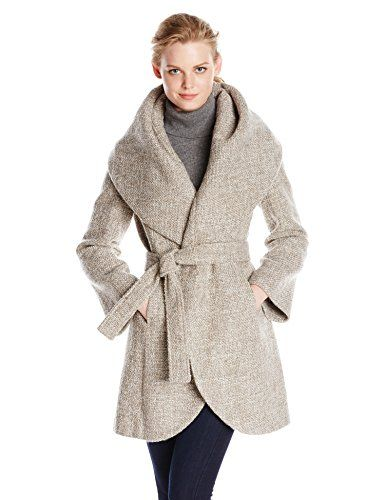 T Tahari Women's Marla Wool Wrap Coat Tweed Mink/Macrame X-Small
