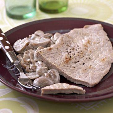 Escalopes de veau à la crème et aux champignons