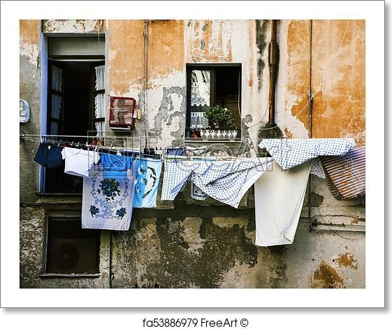 Free Art Print Of Hanging Clothes In The Old Town Of Cagliari