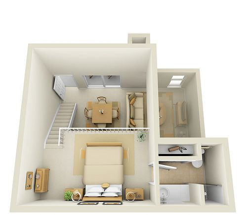 Studio 2nd floor townhome 3d floor plan by pcmg for Small two bedroom apartment floor plans