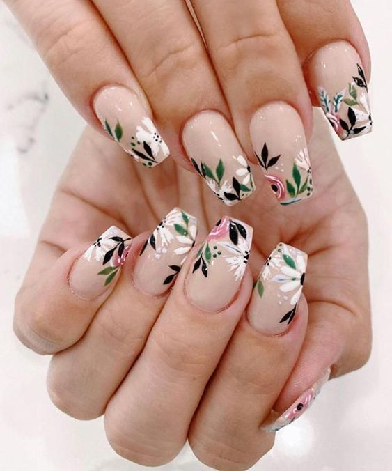 45 Trendy Spring Nails And Colors For 2021 In 2021 Spring Nail Art Nail Art Floral Nails