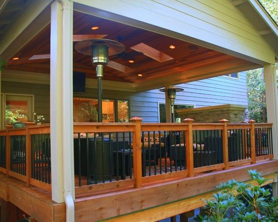 Stunning Covered Deck With Traditional Style Used Wooden
