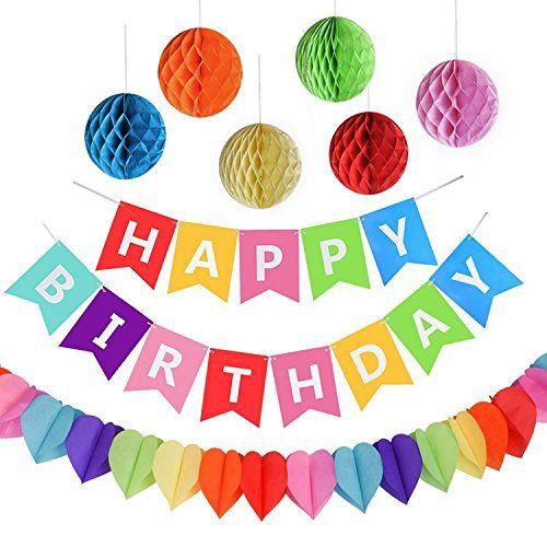 Stern // Herz Folienballons PushingBest Geburtstagsdeko Papier Pompoms und Spiralen Dekoration Geburtstag Dekoration Set Happy Birthday Banner Girlande Dreieckige Wimpel Mit hochwertig Latexballon