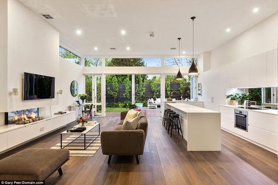open plan kitchen and living room space
