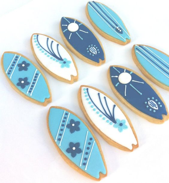 Surf's Up Surfboard cookies.  How cute!