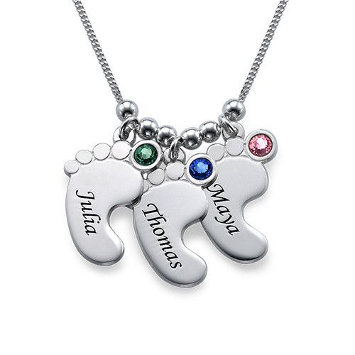 You may select any birthstone that you wish from the list below:Moms love anything that celebrates their children, which is why they are sure to love Mom Jewelry - Baby Feet Necklace. Engrave up to three baby feet charms with the names of the children and include a birthstone for each baby feet pendant. It is a great gift for mom any time of the year, including birthdays, Mother's Day, or Christmas. Any mom is sure to love and appreciate this necklace and wear it all the time.