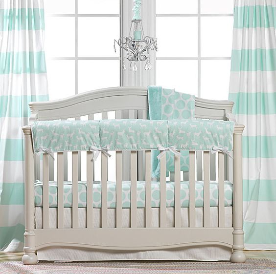 Woodland Crib Bedding | Mint Crib Bedding | Liz and Roo | Liz and Roo Fine Baby Bedding