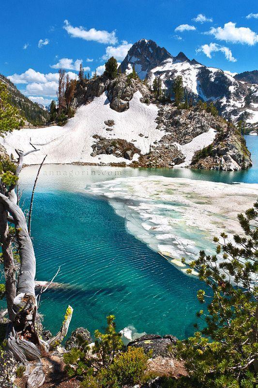 Icy waters at Sawtooth Lake, Idaho, United States