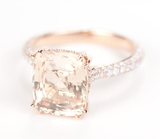 Very beautiful, HUGE!!!, Unique Peach Champagne, Unheated Cushion Sapphire set in a very beautiful setting ( inspired by Blake Lively  s engagement