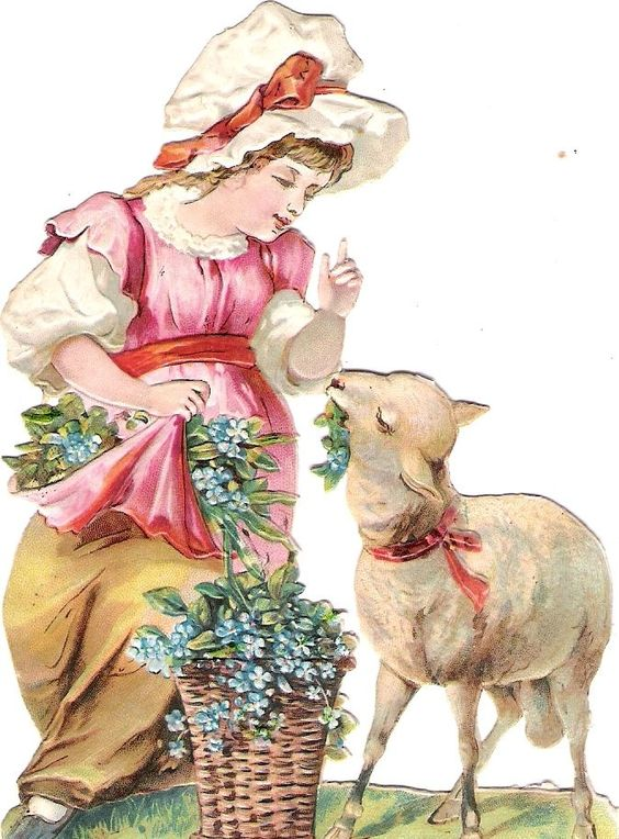 Oblaten Glanzbild scrap die cut chromo Kind child Schaf sheep girl forgetmenot: