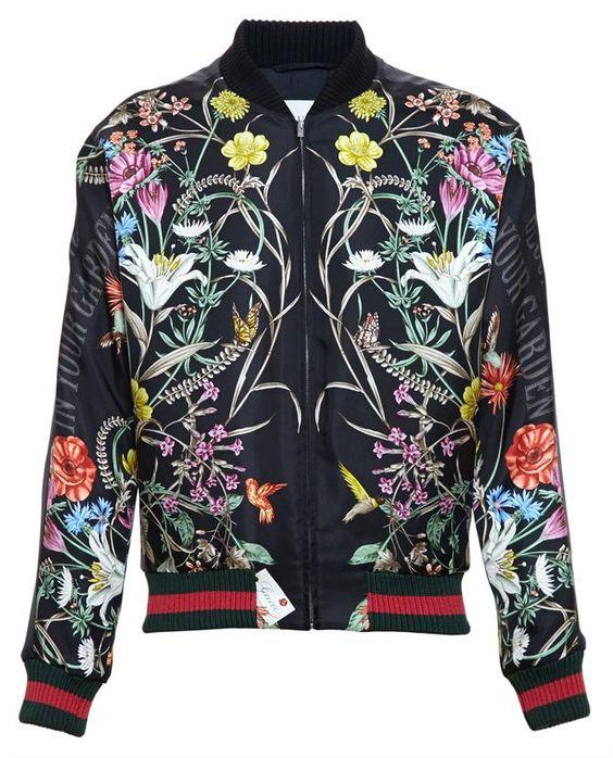 GUCCI Floral Printed Satin Bomber Jacket: